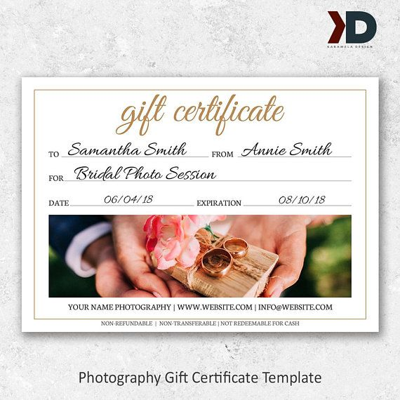 Photography Gift Certificate Template Wedding Photography Template