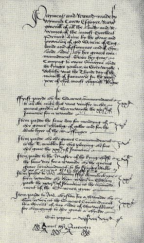 Photo of A document bearing the signature 'Anne the Quenen', written by Anne of Cleve…