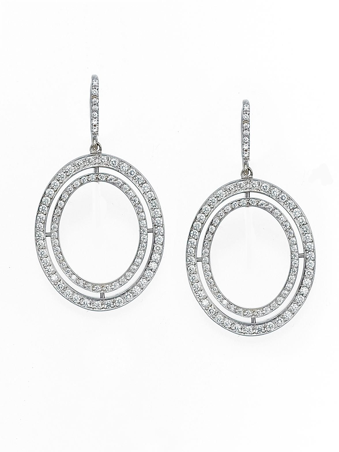 Ivanka Trump 18k White Gold Small Signature Open Oval Pave Diamond Drop Earrings. Available at London Jewelers.