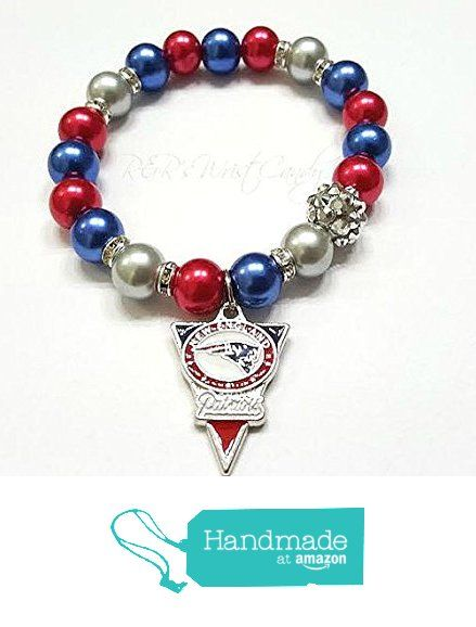 New England Patriots Bracelet Beaded Nfl Football Charm Stretchy Handmade Custom Jewelry