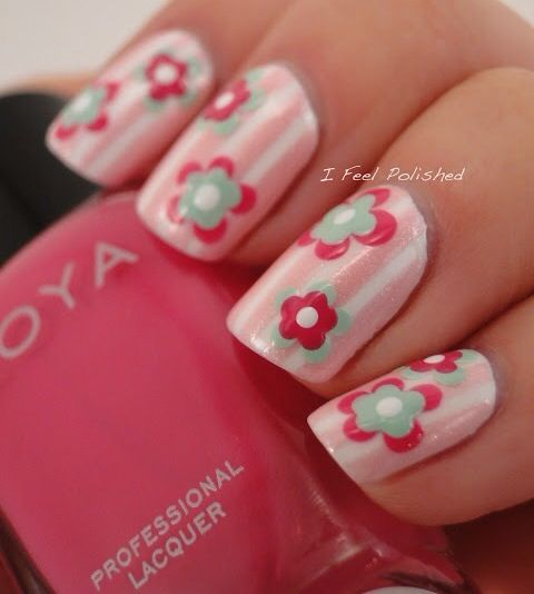 Floral striped manicure ... I absolutely adore these nails! I have to do them!