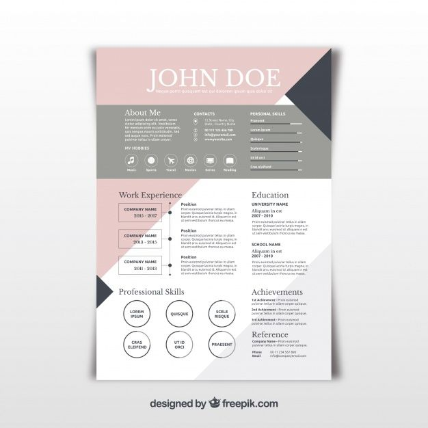 Pretty Abstract Resume Template Free Vector  Graphic Designs