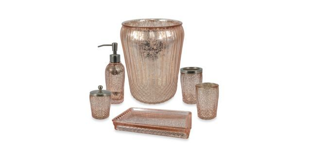 Clarissa Bath Ensemble Pink Rose Gold Mercury Glass Bath