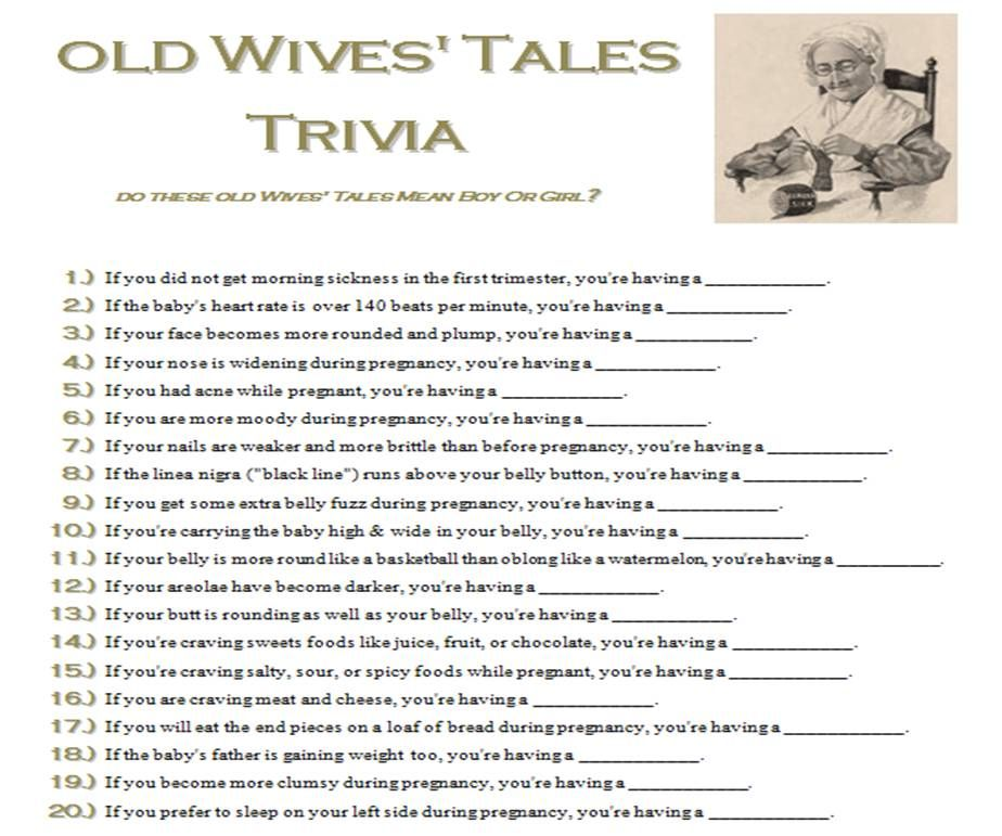 Old Wives Tales Trivia Baby Shower Game Word Document To Print To Share With Guests What I Experienced During Pregnancy Answers