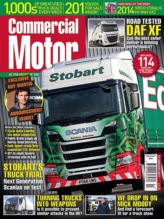 19 January 2017  ►Exclusive announcement from celebrity truck fitter Guy Martin ► Man associated with Bath tipper crash firm granted O-licence for same site as that firm, which committed 124 offences in 15 weeks ►As Eddie Stobart buys its first R-Series Scania, we take a look back at the haulier's long-standing relationship with the manufacturer ► We look at how possible it is to prevent terrorist attacks involving HGVs in the UK