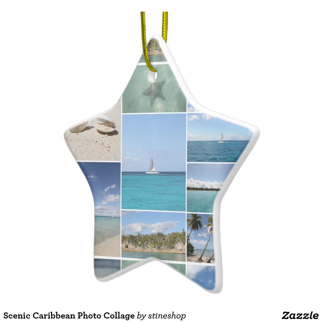 Scenic Caribbean Photo Collage Ceramic Ornament | Zazzle ...