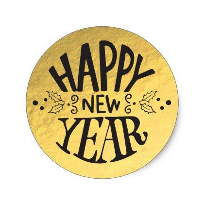 Gold foil holiday glam script happy new year classic round sticker