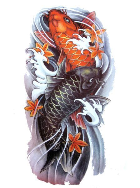 Koi Fish Tattoo Flash Designs Top Quality High Resolution Color Design With Tattoo Stencil Outline For Instant Download Tato Ikan Koi Tato Pria Tato Yakuza