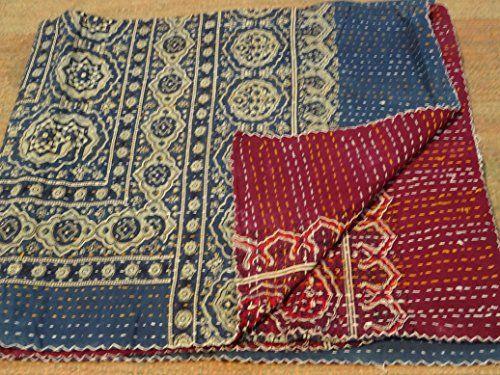 Tribal Asian Textiles Handmade Block Print Kantha Embroidery Bedspread Throw Sofa Cover Wallhanging Tribal Asian Textiles Ht Textilien Tagesdecke Handgefertigt