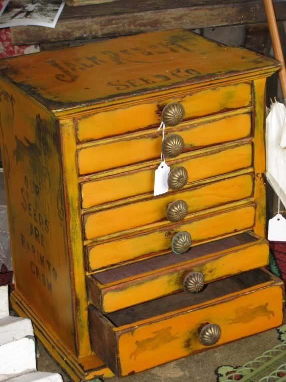 Antique Spool Cabinet I Painted And Stenciled
