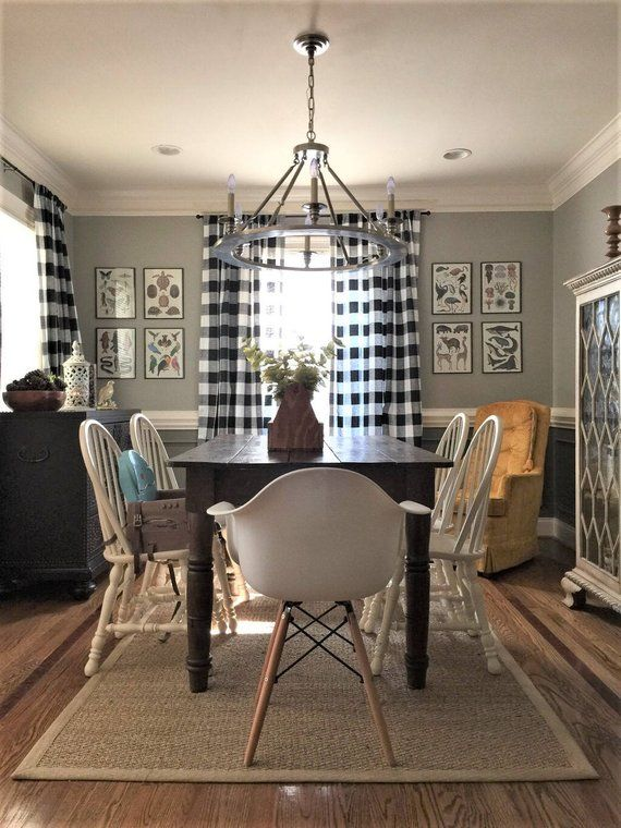 Black and White Buffalo Check Curtains  Rod Pocket  Can add on Cotton or Blackout Lining is part of Buffalo check curtains - policy