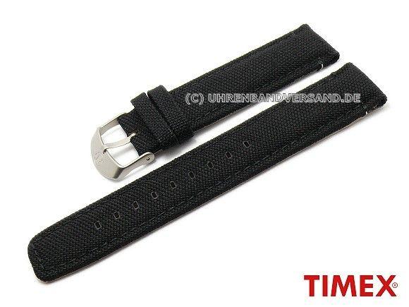 Original Ersatzarmband TIMEX 22mm schwarz Textil für T49863, T49864, T49831