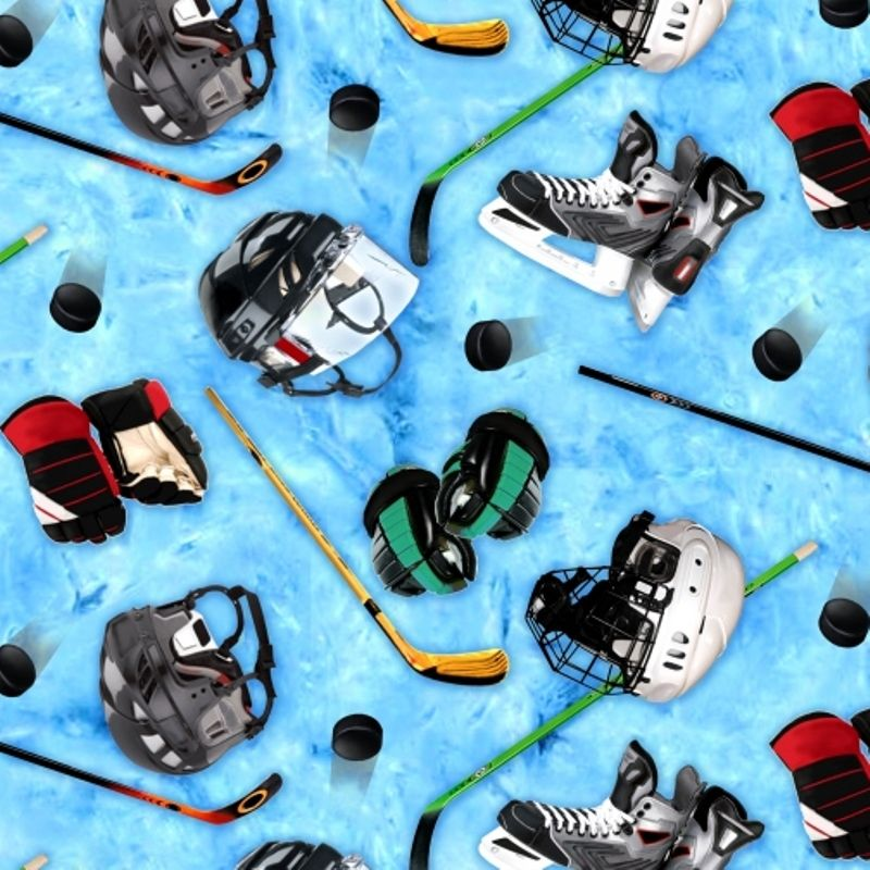 Cotton Fabric - Sports Fabric - Sports Collection Hockey Equipment Helmets Sticks Blue|4my3boyz Fabulous Fabrics by the Fat Quarter and More