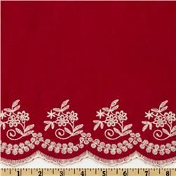 Scalloped Cotton Voile White/Red