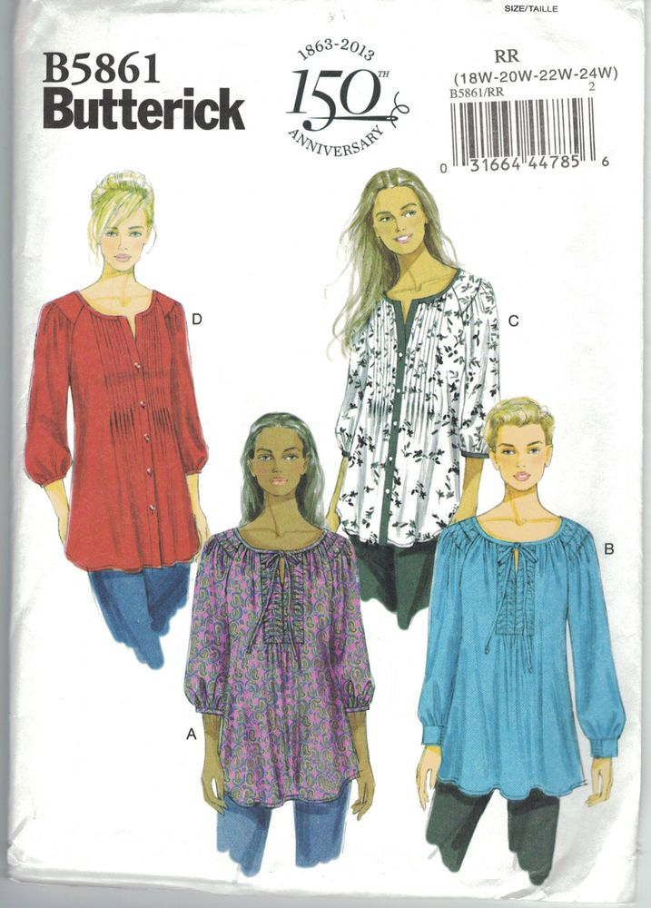 Butterick 5861 Tunic Top w/Tucking Peasant Blouse Pattern Plus Size 18 20 22 24W #Butterick #Tunictoporpeasantblouse
