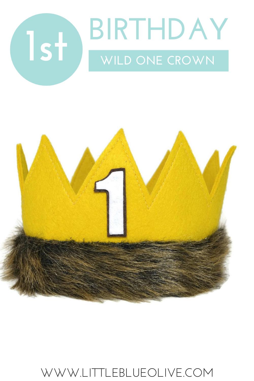 1st Birthday Yellow Felt Crown For Wild One Boy First Birthday Boy Birthday 1st Birthday Photos