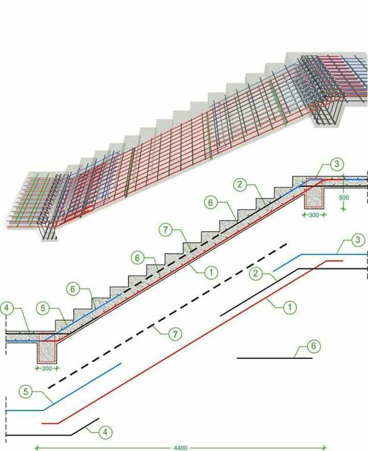 Armaduras da escada gradas pinterest escalera for Planos de escaleras de hormigon