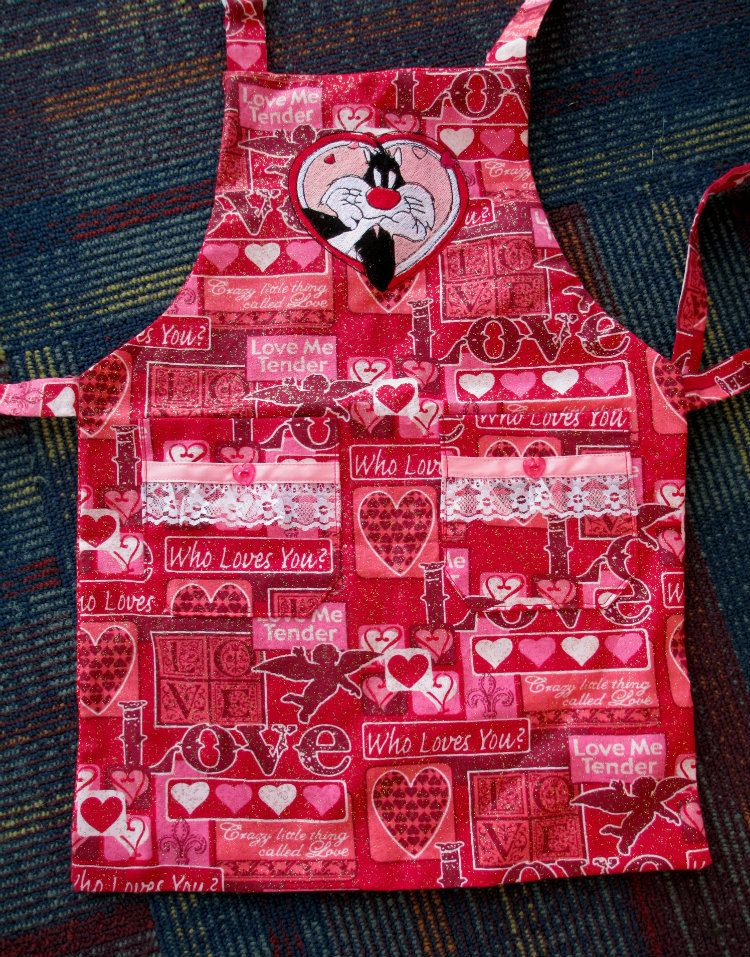 Red Hot Victorian Valentine Preschool Apron With Cartoon Embroidery By  Cover Me Aprons By CoverMeAprons On
