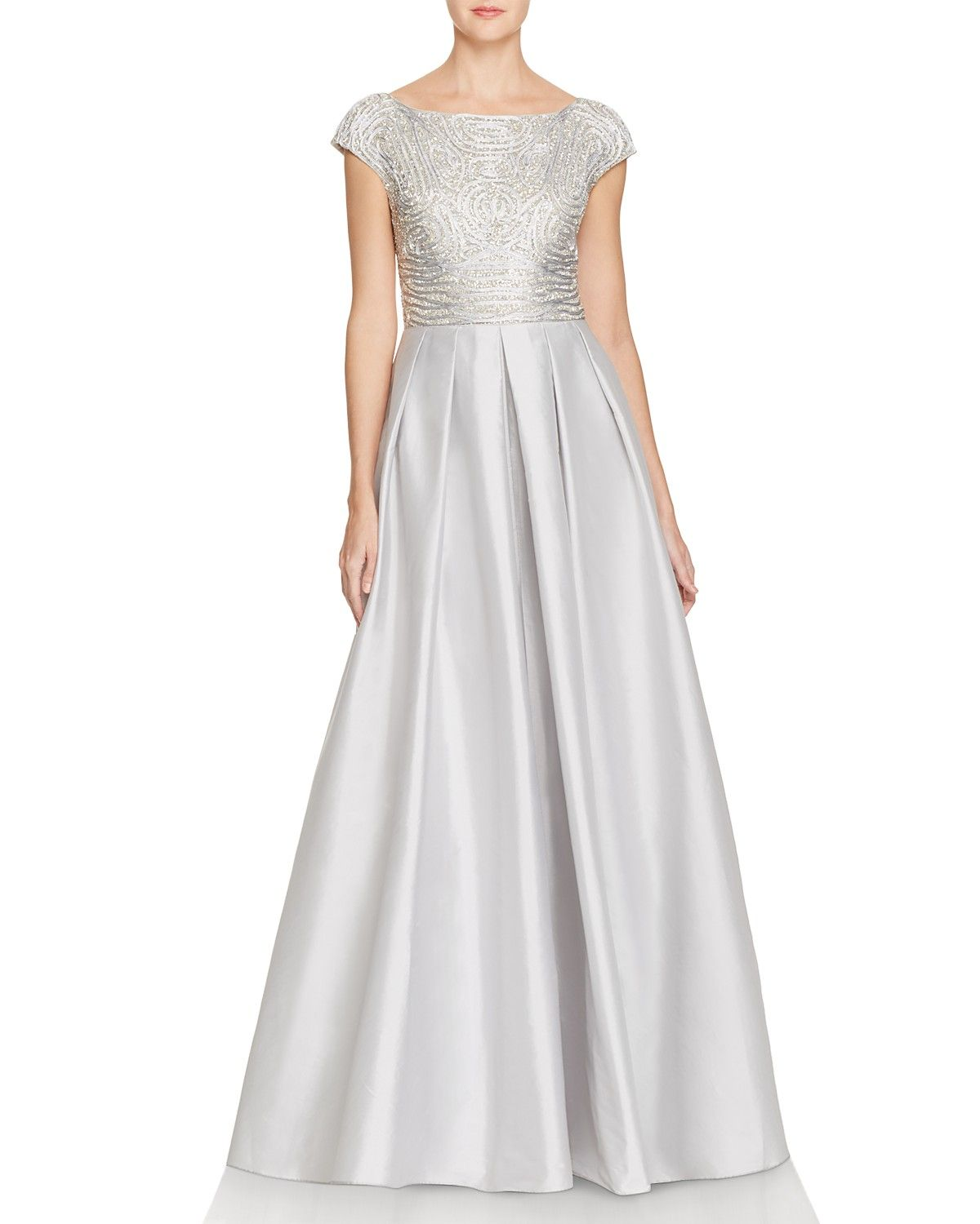 Elegant Embroidery Embellishment Ball Gown Traditional: Aidan Mattox Embellished Cap Sleeve Gown