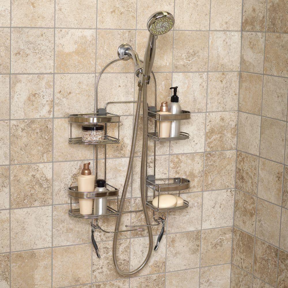 Stainless Steel Expandable Handheld Shower Head Caddy Basket Storage Organizer Zennahome Shower Accessories Shower Shelves Steel Bath
