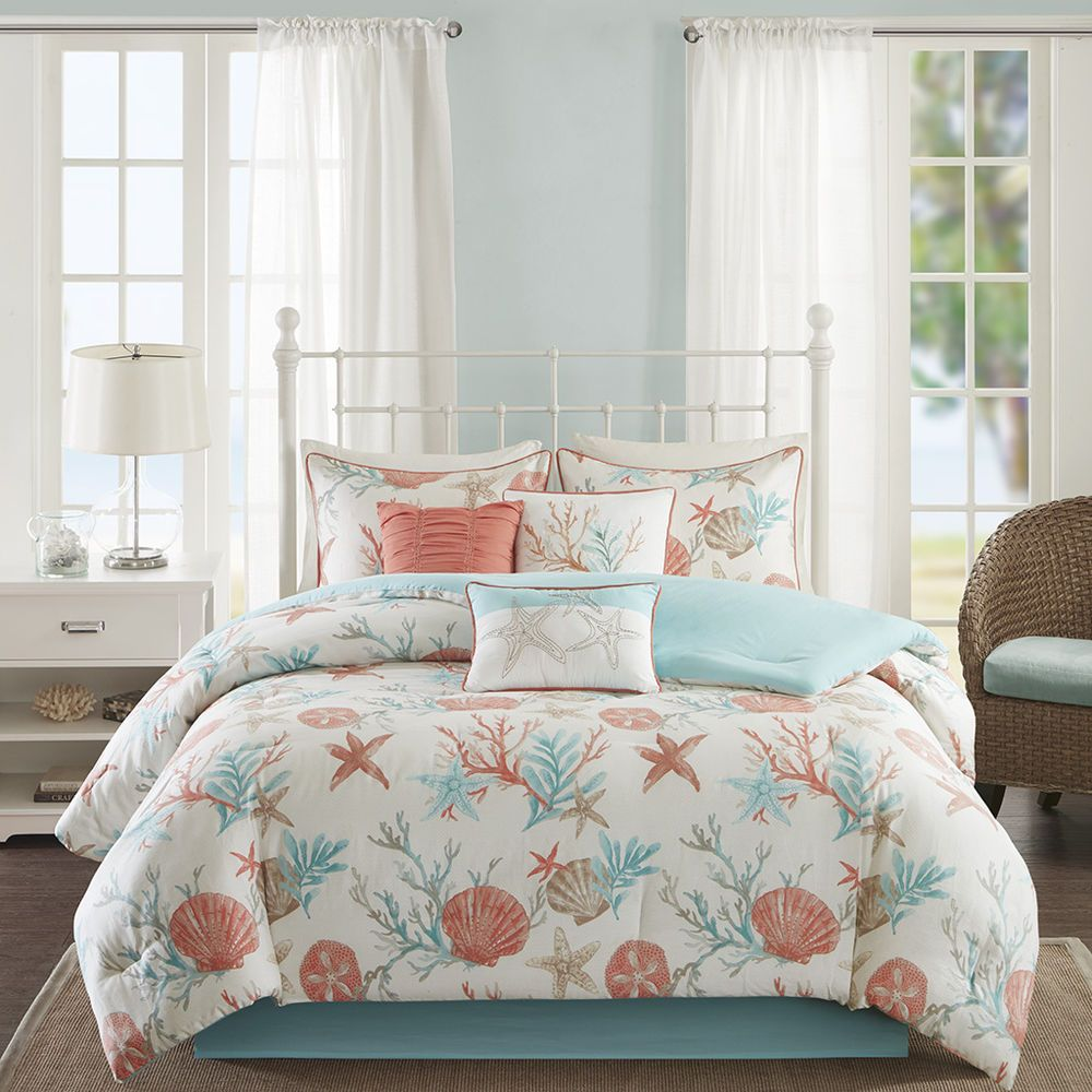 Beautiful Modern Beach Ocean Sand Seashell Teal Aqua Blue Coral Comforter Set Quality Modern Beach Bedding Sets Beach Bedding Comforter Sets