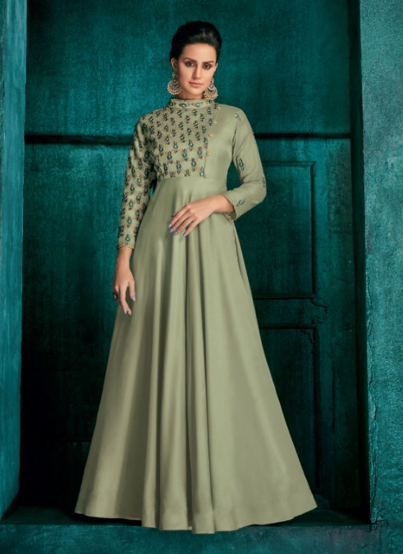 party wear light green silk embroidery work gown