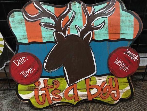 Deer birth announcement door hanger by JustDotsCo on Etsy