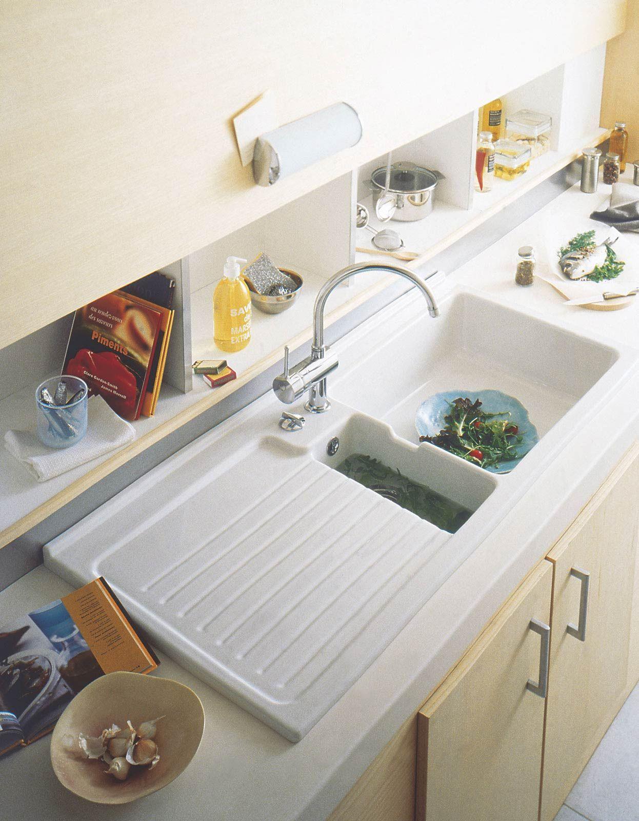 rangement derri re l 39 vier vier de cuisine encastrer c ramique 1 bac gouttoir espace. Black Bedroom Furniture Sets. Home Design Ideas