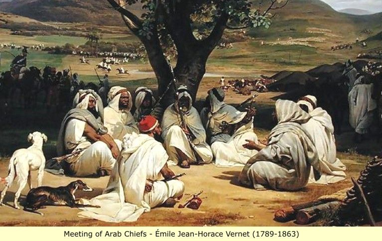Arab and Berber (Moor) paintings: Charge scenes (Military)