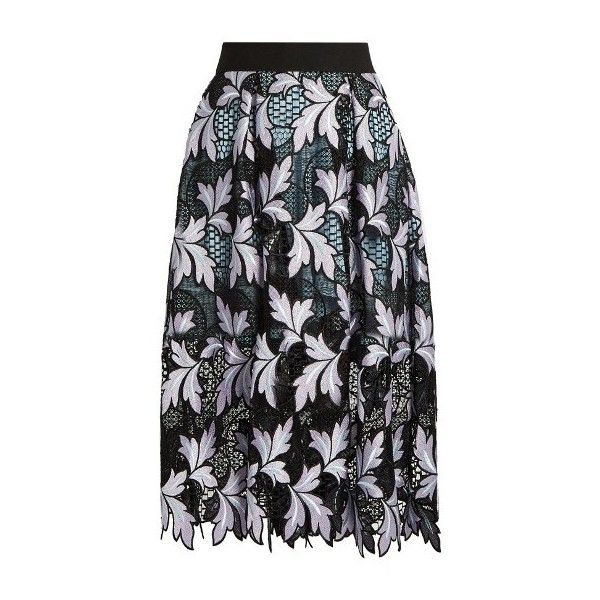 8ec1050877 Self-portrait Patchwork guipure-lace midi skirt (24.425 RUB) ❤ liked on  Polyvore featuring skirts, multi, floral print skirt, scallop hem skirt, ...