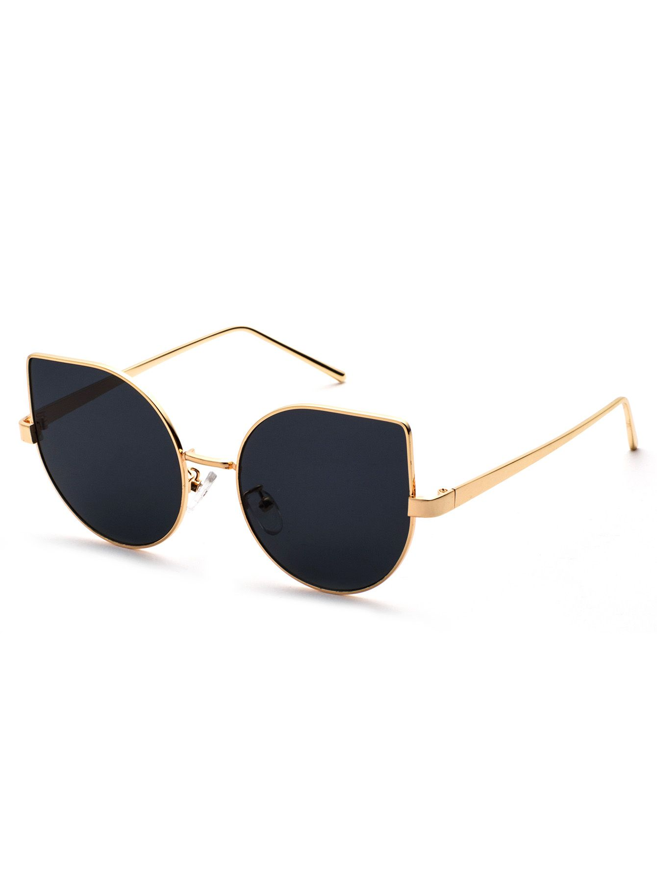 65b7a9be3c Shop Metal Frame Black Cat Eye Sunglasses online. SheIn offers Metal Frame  Black Cat Eye Sunglasses & more to fit your fashionable needs.