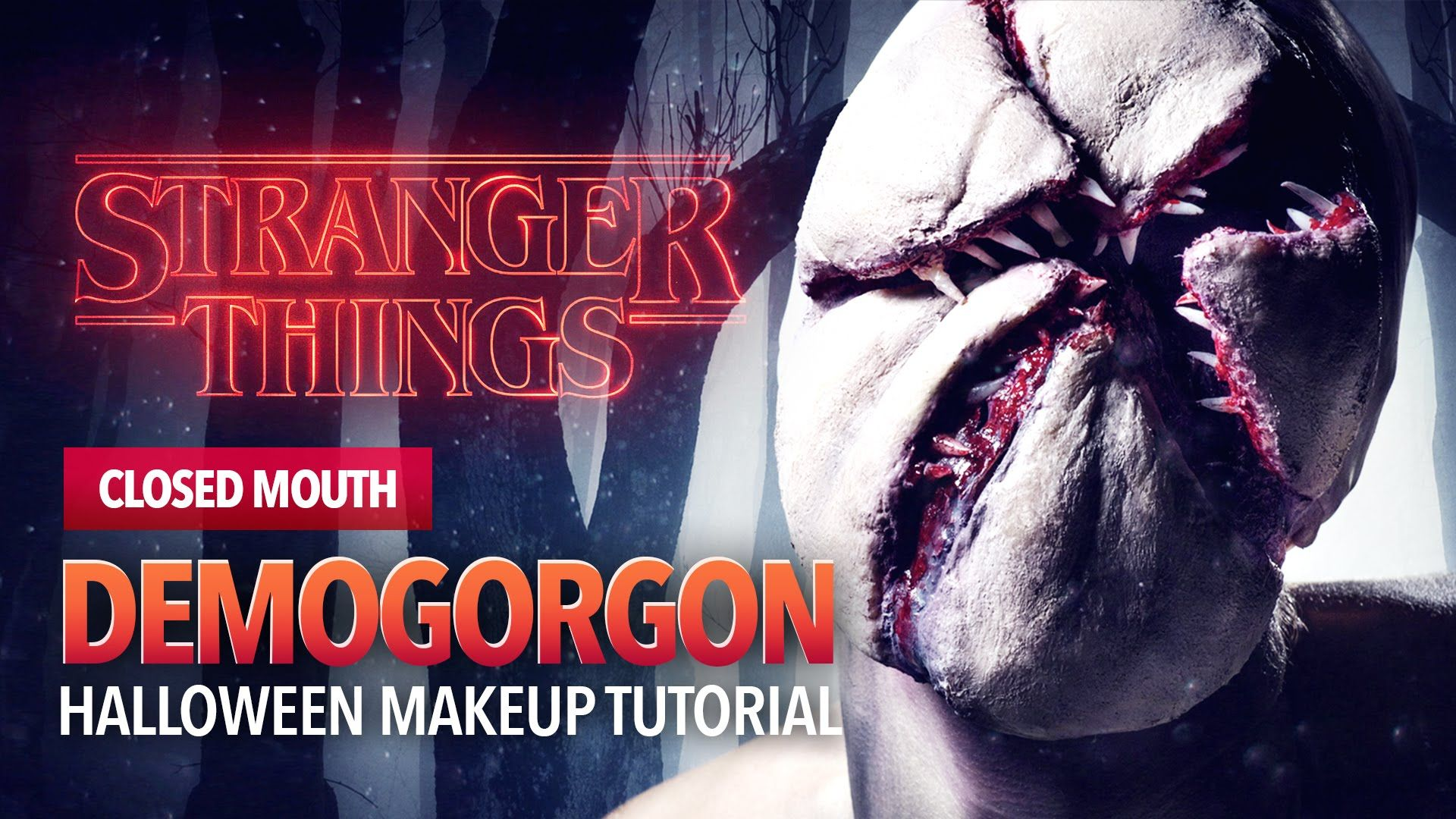 stranger things monster halloween makeup tutorial closed mouth