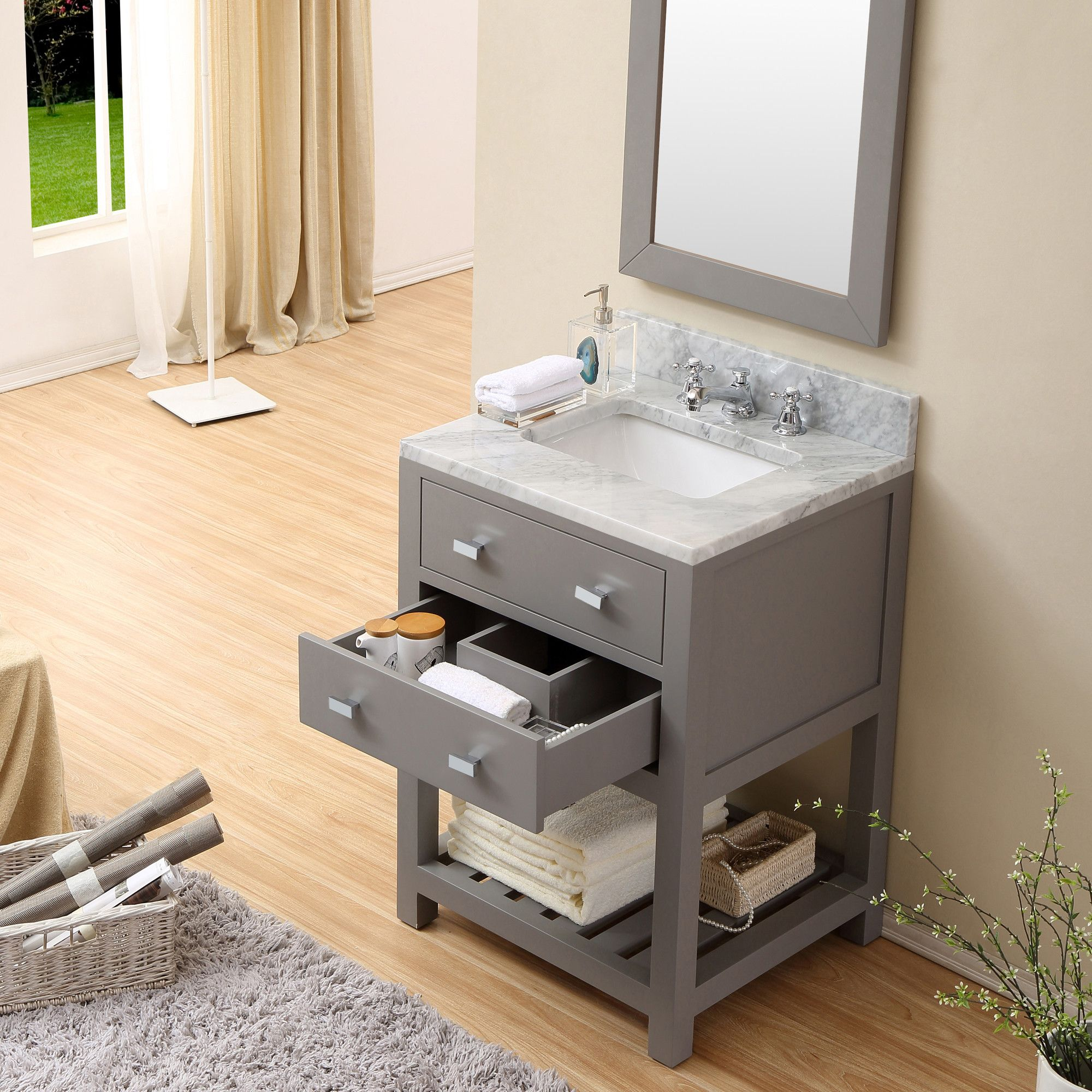 Cadale 24 Inch Gay Finish Single Sink Bathroom Vanity Tiny