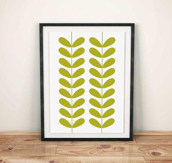 Avocado Green Mid Century Print Retro Wall Art by OrchardBerry | mid ...
