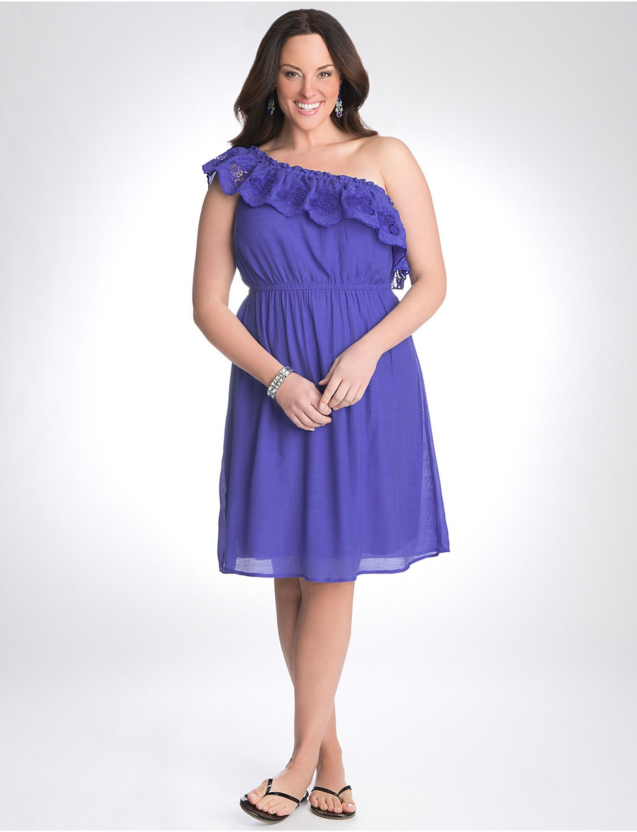 Full Figure One Shoulder Ruffle Dress by Lane Bryant http ...