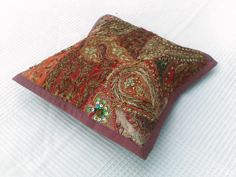 Petite housse de coussin, petite tenture indienne brodée vieux rose, petite tenture indienne rose foncé, set de table, artisanat indien de la boutique IndianShopbyDLFine sur Etsy