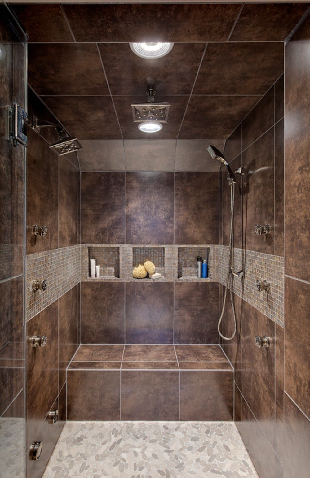 Shower Design With Bench And Pebble Floors Walk In Shower Bathroom Remodeling Design With Marble Tile Bathroom Shower Design Bathrooms Remodel Shower Remodel