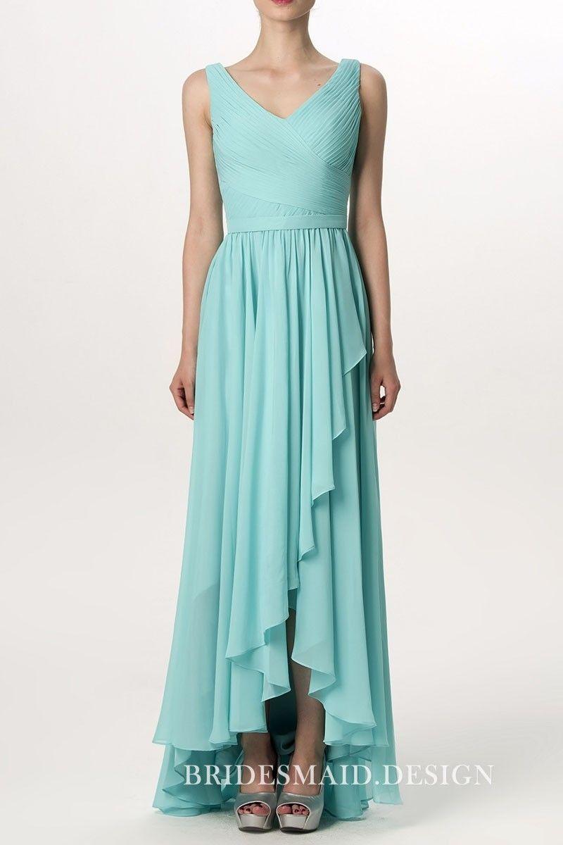 dd06cf2ec7c617 Turquoise pleated chiffon V-neck bridesmaid dress. Asymmetrical ruffled hemline  high low A-line bridal party gown.