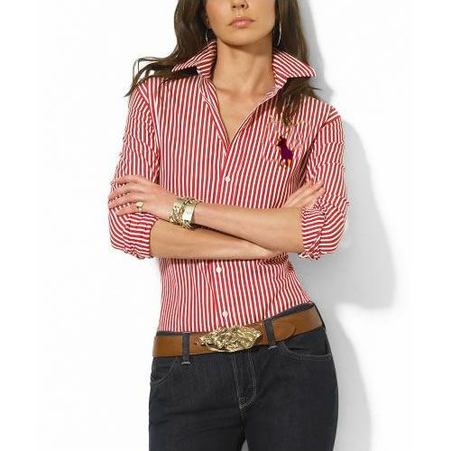 Cheap Ralph Lauren Women's Striped Big Pony Shirt Red