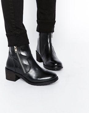 London Vesta Leather Zip Ankle Boots