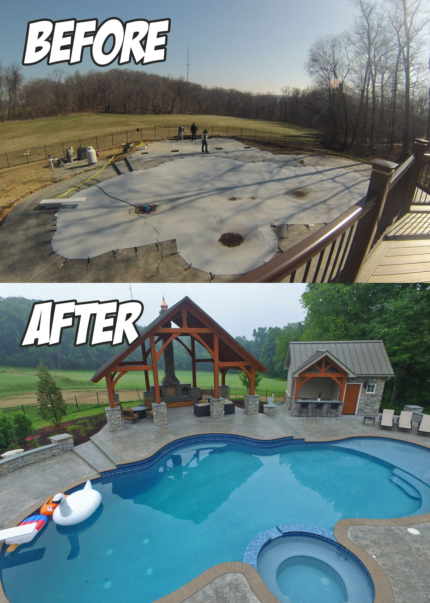 Large Poolside Outdoor Living Project (Before & After) installed in Lancaster, PA