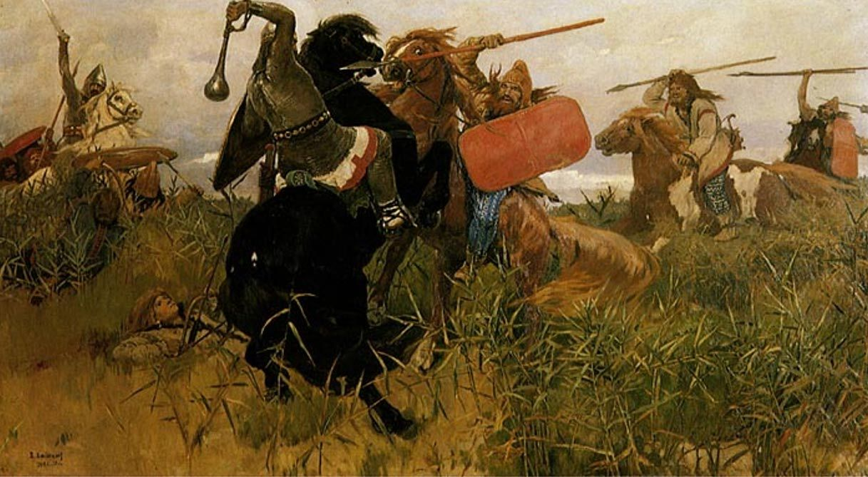 Battle between the Scythians and the Slavs.  Scythian warrior found with a bronze are arrowhead in his spine.