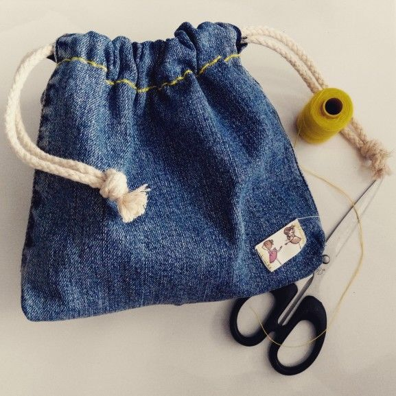 Recycle Jeans Drawstring Pouch 牛仔褲束口袋