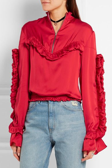 Red silk-satin Zip fastening along front 100% silk Dry clean