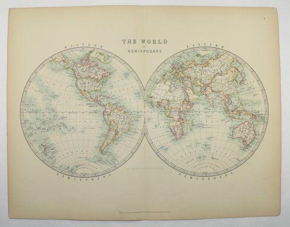 Antique world map hemisphere map 1905 vintage map of the world antique world map hemisphere map 1905 vintage map of the world unique office art gumiabroncs Gallery
