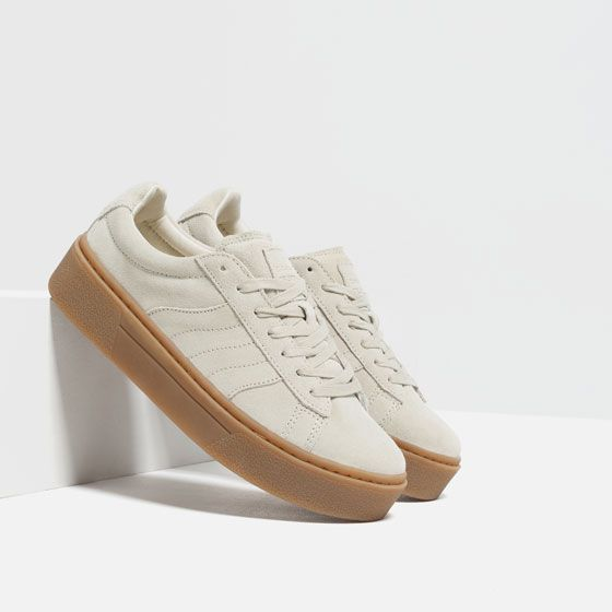Image 3 Of Chunky Sole Leather Sneakers From Zara For The Feet