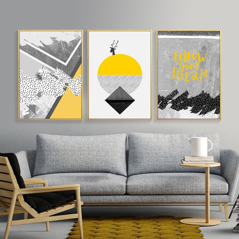 Nordic Poster Abstract Yellow Geometric Painting Decoration Wall Art Decor Wall Pict Picture Wall Living Room Wall Art Decor Living Room Wall Art Living Room Wall art decor living room