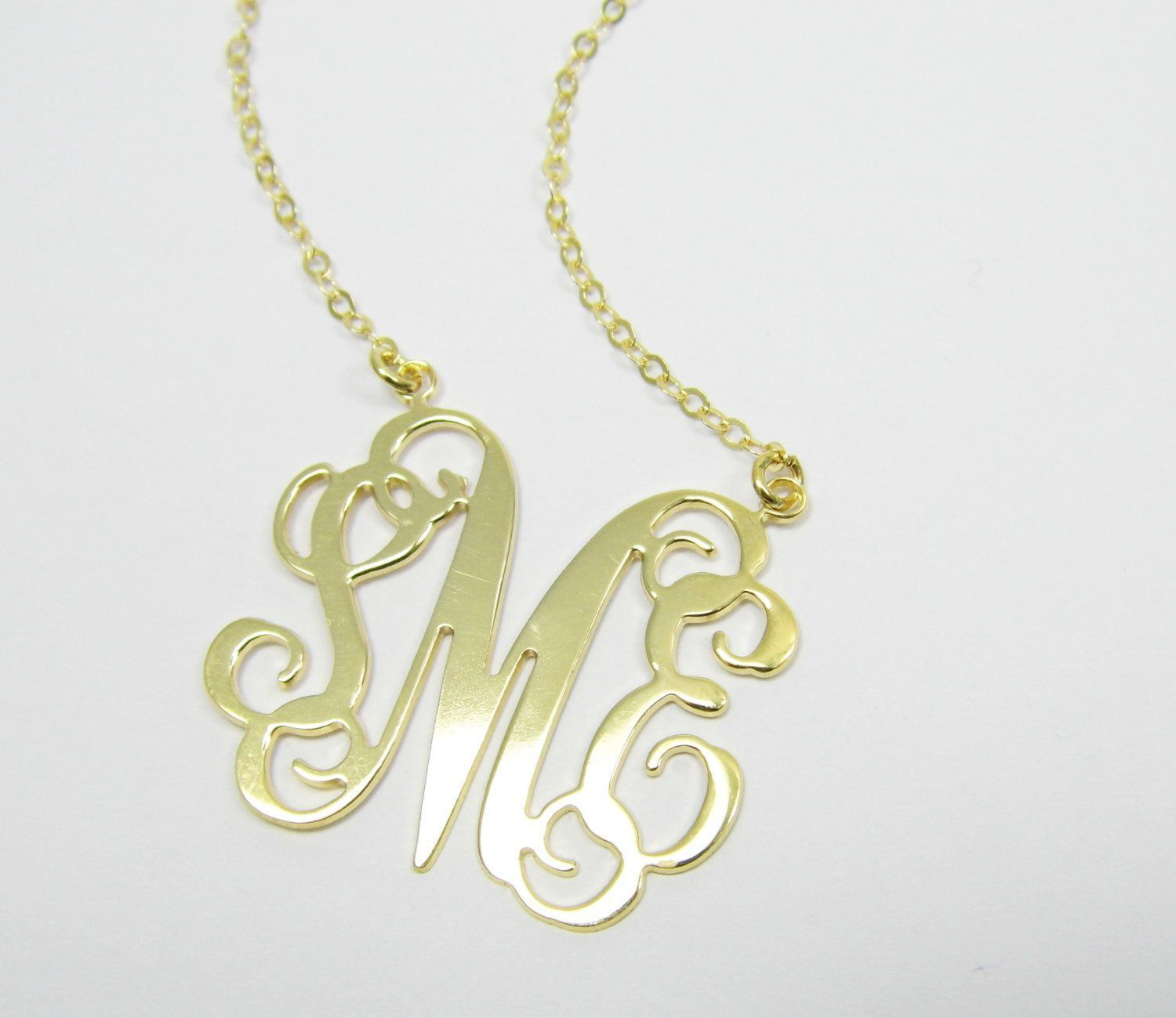 """Monogram necklace 0.8"""" Personalized Necklace - Sterling silver 925 Plated 18k gold. gift for her, monogram jewelry"""