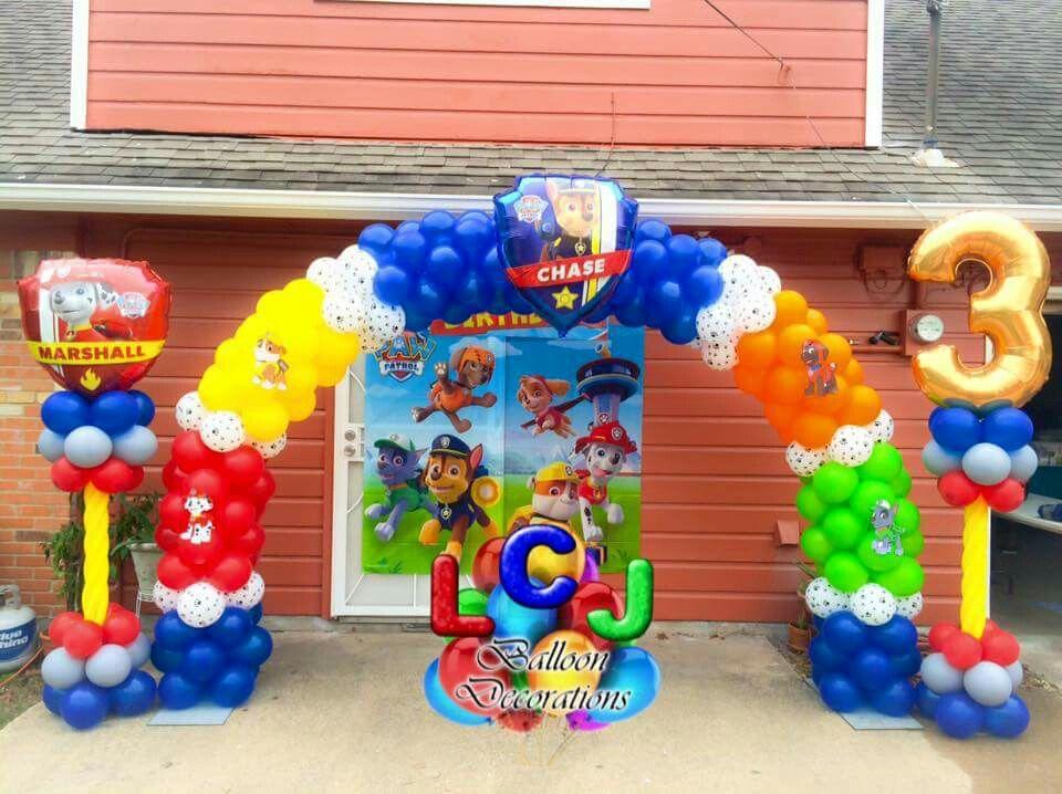 Paw patrol arco y columna decoraciones con globos - Decoracion de la patrulla canina ...