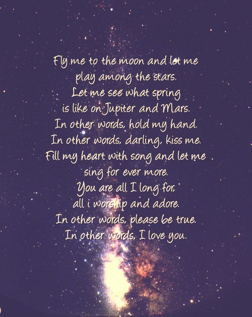 Fly me to the moon--our song--love that our son knows the ...